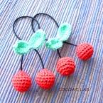 編みさくらんぼのヘアゴム
