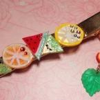 プラバンでキラキラフルーツ☆ヘアピン