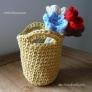 かぎ針編みでミニバッグの空きビンカバー♪