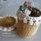 パプコーン編みの空き瓶カバー♪