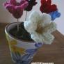 ニットのお花で冬の植木鉢♪