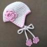 お花のついたニット帽(キッズサイズ)