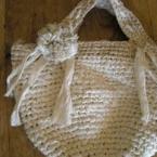 リネンの裂き布バッグ(コサージ付き)