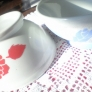 バラのステンシルのカフェオレボウル