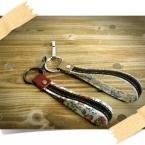 お花の革と綾テープのキーホルダー