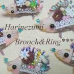 ハリネズミのブローチと指輪