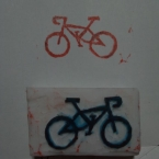 自転車の消しゴムはんこ2