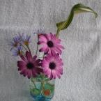 草花を空き瓶に飾る