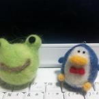 羊毛フェルトマスコット カエルとペンギン