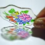 イミテーション 絵付けガラスプレート