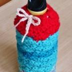 松編みのカラフルボトルホルダー