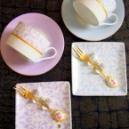アラベスク柄ケーキプレート&ティーセット