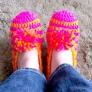 かぎ針編みの簡単ルームシューズ
