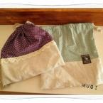 布を切り替えるタイプの巾着を簡単に作る♪