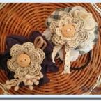 森ガールな編み花&布花のヘアゴム♪
