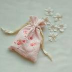 半衿リメイク*刺繍の巾着袋