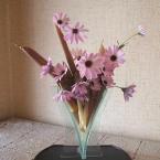 竹の皮で花留め