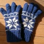 雪柄ぬくぬく五本指手袋