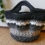 毛糸のシマシマプチバッグ