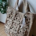 麻ひもでモチ-フ編みのバッグ