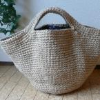 麻ひものシンプルなまあるいバッグ