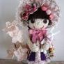 桜イメージの文化人形風 編みぐるみ