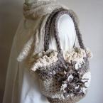 麻紐&生地で作る かぎ針編みバック シュシュ付き
