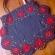 マチョーの赤い花刺しゅうのマイバッグ