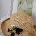 帽子のドライフラワーコサージュ