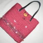 ダンボール織り機で作った手織り麻ひもバッグ
