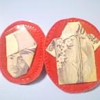 千円札折り紙のブローチ