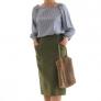 直線裁ちで作るタイトスカート。ポケット付き♪
