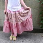ピンクの小花のギャザースカート